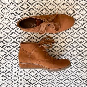 Franco Sarto Faux Suede Lace-Up Wedge Booties